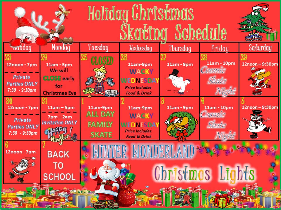 Christmas 2018 Roller Skating Schedule
