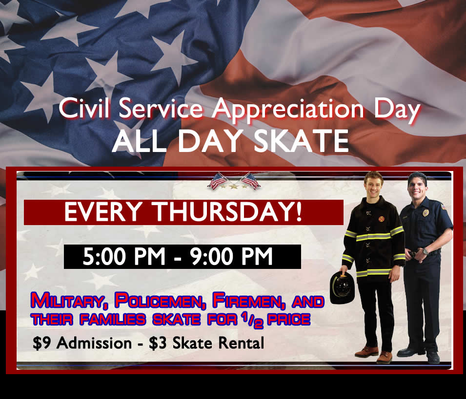 Civil Service Day Every Thursday!  Half-Price Off for all Civil Service Employees and their families.