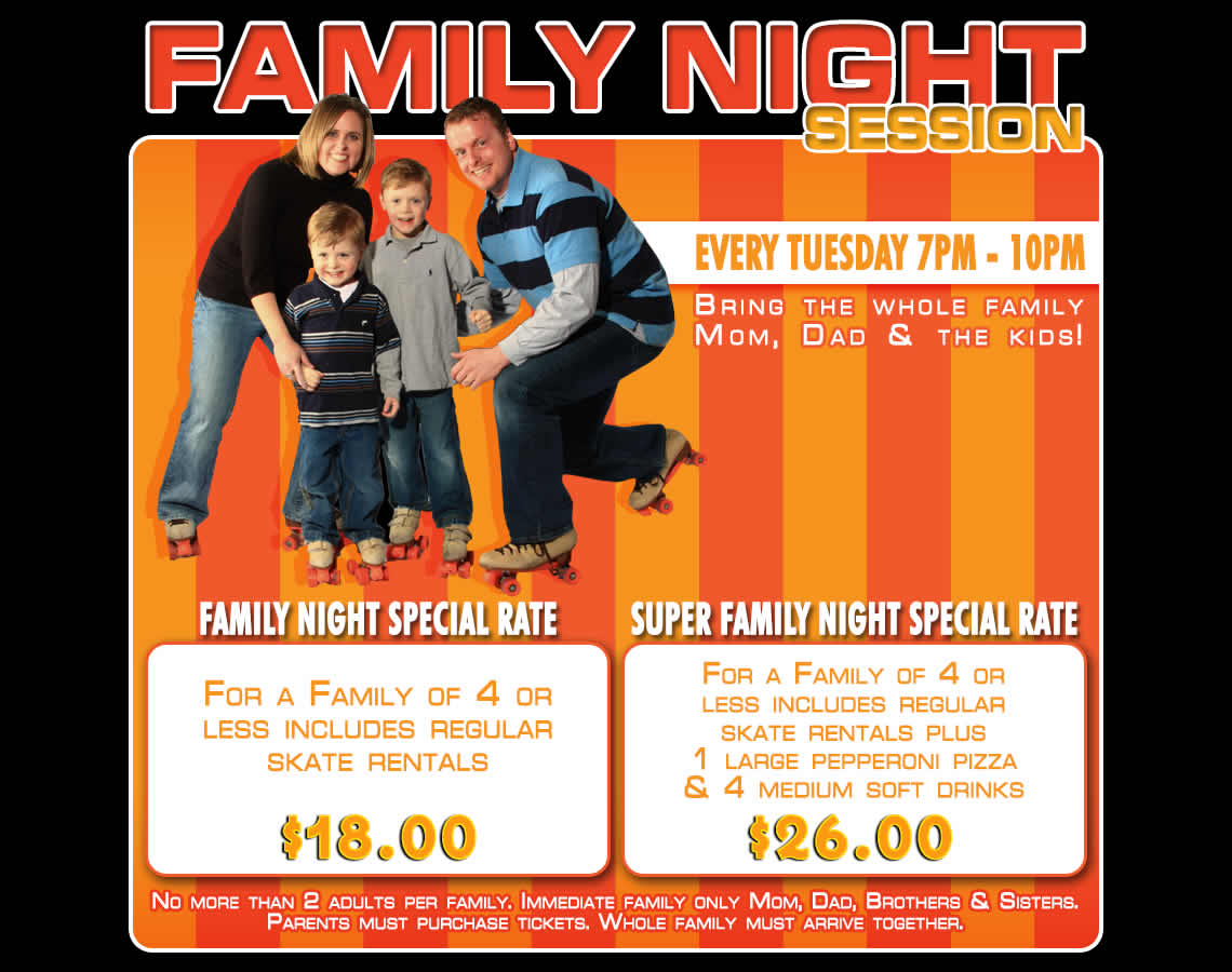Every Tuesday at 7-10 pm is Family Night at Crystal Palace Skating Center.