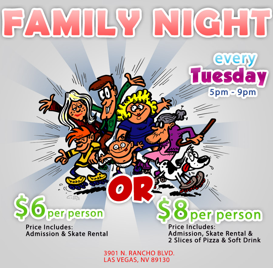 Family Night Roller Skating Party, Every Tuesday from 5pm - 9pm.