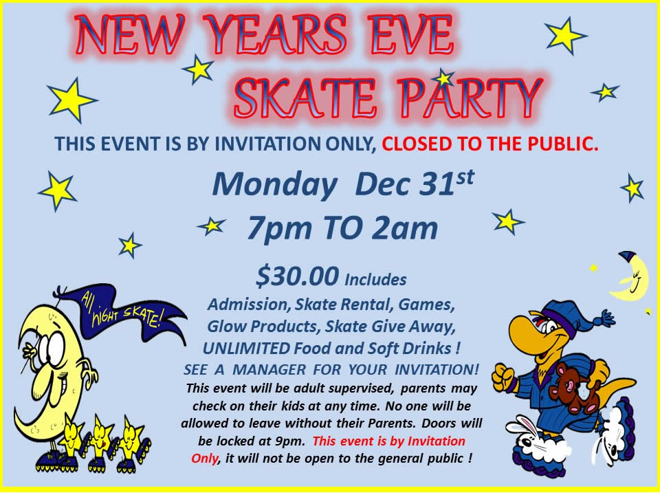 Happy New Year 2019 Roller Skating Schedule
