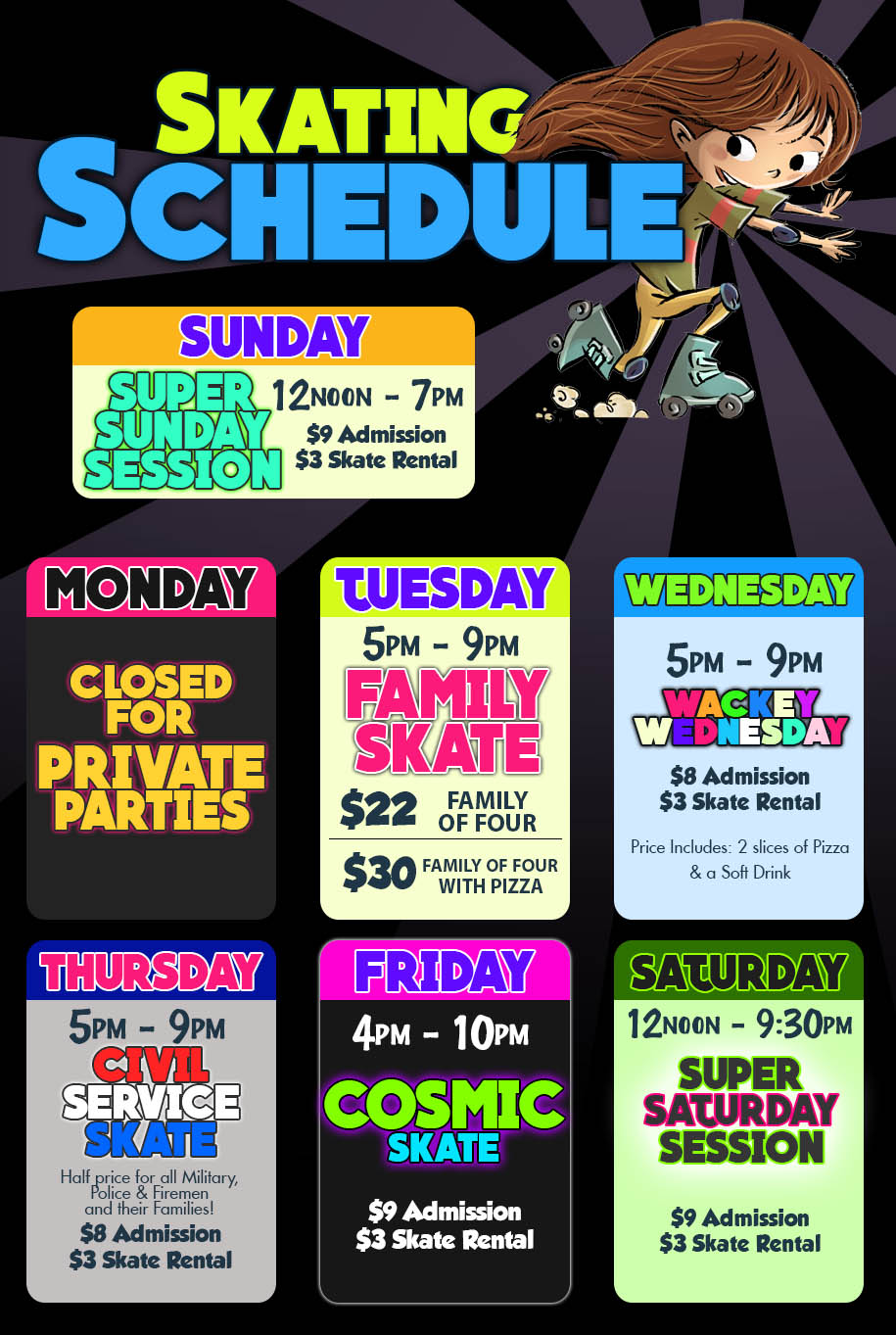 Crystal Palace Roller Skating Rink Winter Schedule